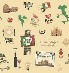 seamless pattern on theme italian cuisine vector image