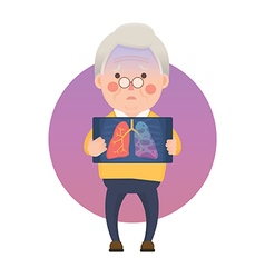 Senior Man with Lung Cancer Problem vector image