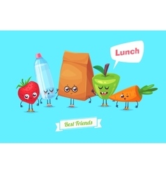 Set of lunch characters cute cartoons vector