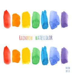 set raindow watercolor brush strokes vector image
