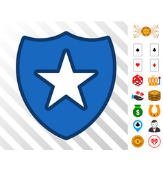 shield star icon with bonus vector image