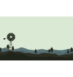 silhouette windmills on the hill vector image