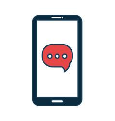 smartphone cartoon black bubble speech social vector image