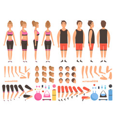 sport people animation fitness male and female vector image