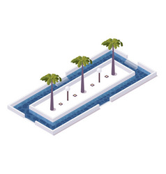 Square isometric 3d pool with palms and lamps in vector