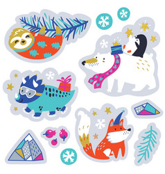 sticker set christmas stickers with cute vector image