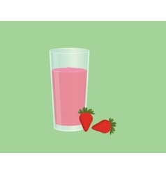 Strawberry smoothie juice with fruit and a glass vector