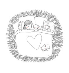The child is sleeping with her toys vector