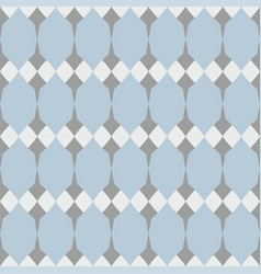 Tile floral pattern with white grey and blue deco vector