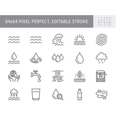 Water line icons include icon vector