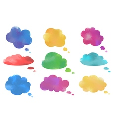 Watercolor cloud speech bubbles collection vector image