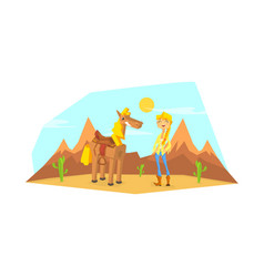 Western girl character with horse in desert vector