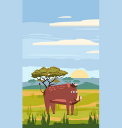 wild boar cute cartoon style in background vector image