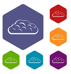 Winter cloud icons set hexagon vector