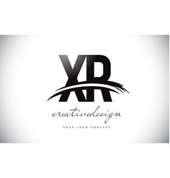 Xr x r letter logo design with swoosh and black vector