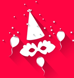 Carnival background with party hat balloons and vector image vector image