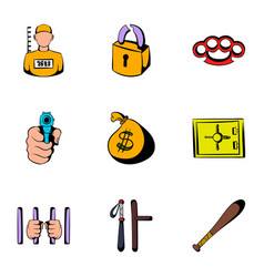 criminal icons set cartoon style vector image vector image