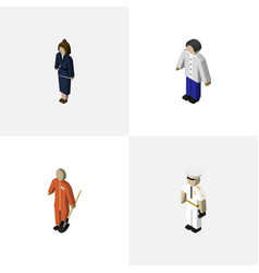 Isometric person set of male cleaner seaman and vector