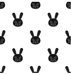 Rabbit muzzle icon in black style isolated on vector