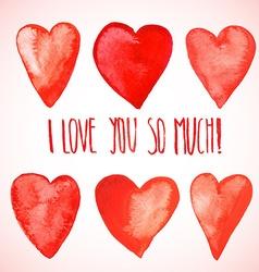 Red watercolor hearts vector image vector image