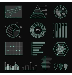 Set of chart icons in thin lines Infographic vector image vector image
