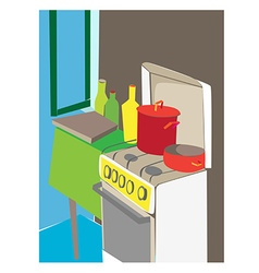 cartoon kitchen interior vector image vector image