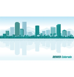Denver colorado detailed skyline vector