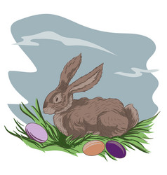 easter bunny and easter eggs on green grass vector image vector image