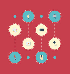 Flat icons stand artist screen elements vector