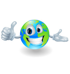 globe mascot giving a thumbs up vector image