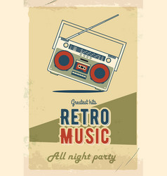 retro party poster design music event at night vector image vector image