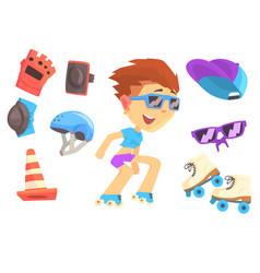 roller skating boy set for label design colorful vector image