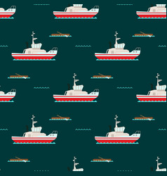 ship cruiser boat sea seamless pattern vessel vector image