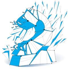 3d digital wireframe blue number 2 broken into vector image vector image