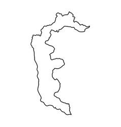 azad kashmir map of black contour curves on white vector image