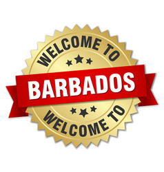 barbados 3d gold badge with red ribbon vector image