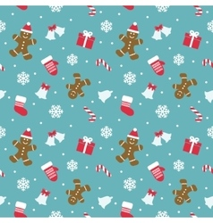 Christmas seamless pattern with gingerbread man vector image