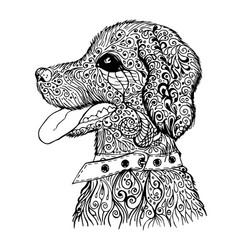 doodle dog pattern vector image vector image