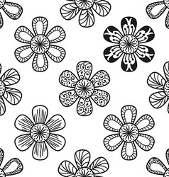 Floral doodling seamless pattern in tattoo style vector image