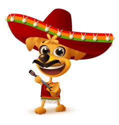 mexican dog in sombrero plays guitar vector image