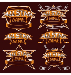 set of vintage sports all star crests with hockey vector image vector image