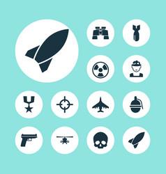 Battle icons set collection of dangerous vector
