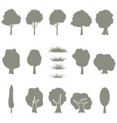 collection of tree silhouettes isolates vector image