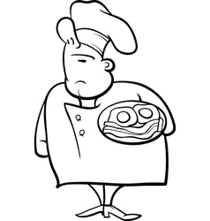 english chef cartoon coloring page vector image