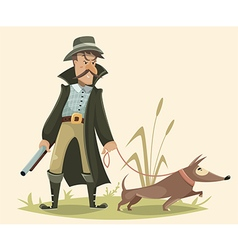 hunter with gun and dog funny cartoon character vector image