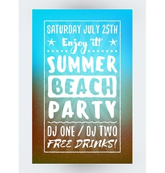 Summer Beach Party Flyer or Poster Night Club vector image