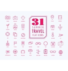 Travel icons set Sea rout and holiday vector image