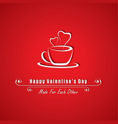 valentine card with coffee mug vector image