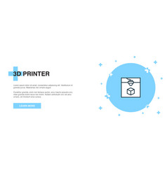 3d printer line icon simple icon banner outline vector