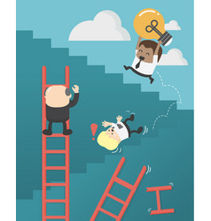 african businessmen who are up ladder of vector image